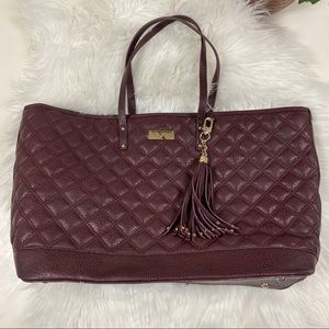 BCBG Quilted XL Tote Purse Burgundy